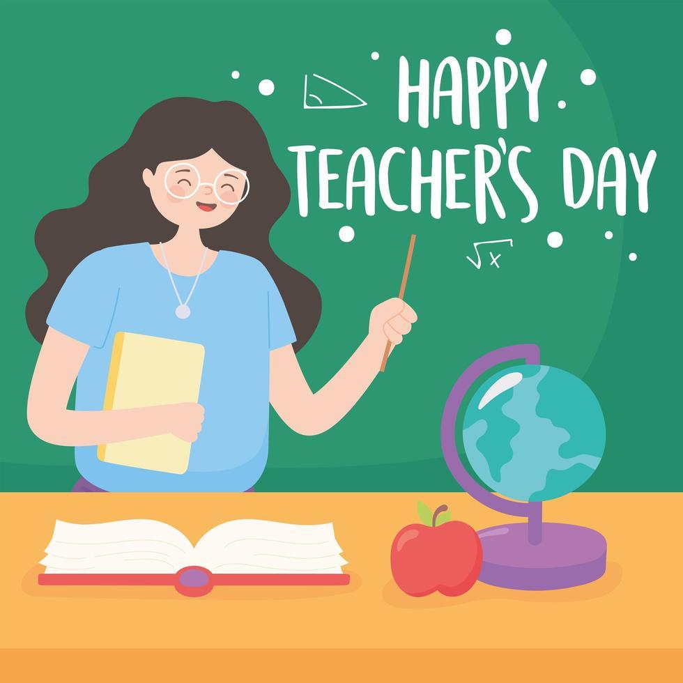 Lehrer mit Tafel, Karte, Buch und Apfel vektor