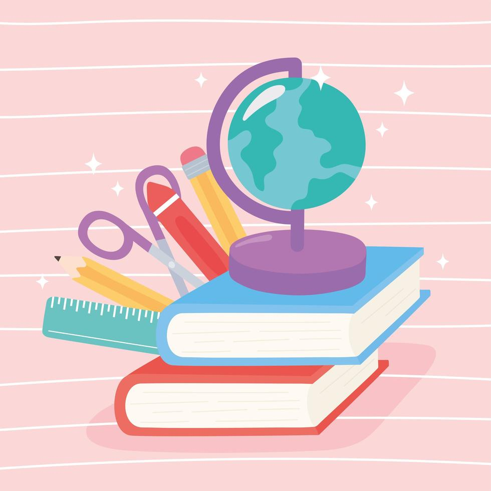 globkarta, böcker, sax, krita, penna och linjal vektor