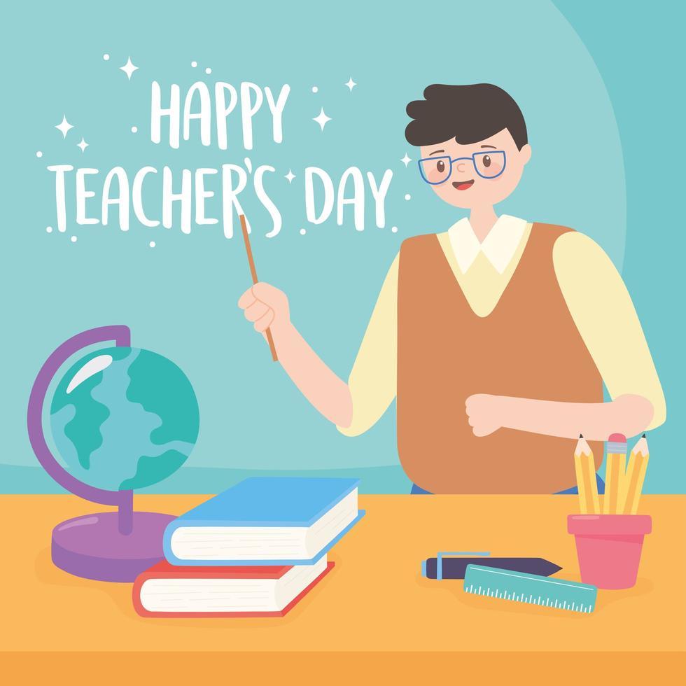manlig lärare med jordkarta, böcker och pennor vektor