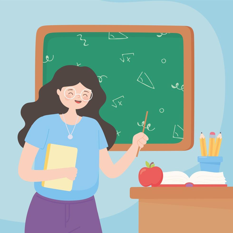 lärare med papper, bok, äpple och pennor vektor
