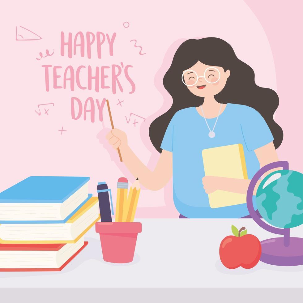 lärarskola, globkarta, äpple, böcker och pennor vektor