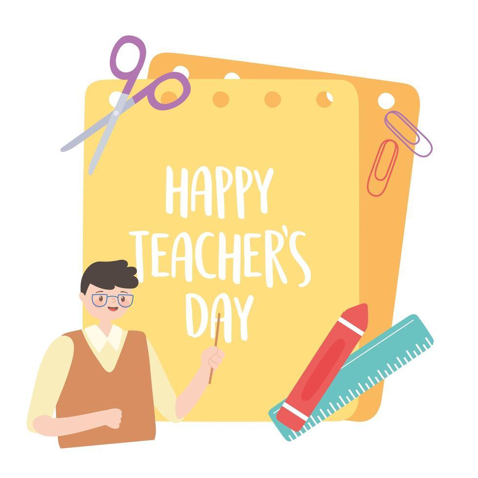manlig lärare, krita, linjal, sax, klipp och papper vektor