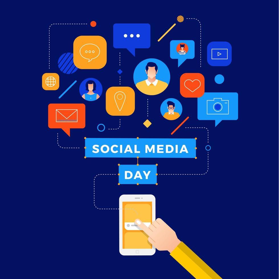 Social Media Day verbunden Smartphone User Design vektor