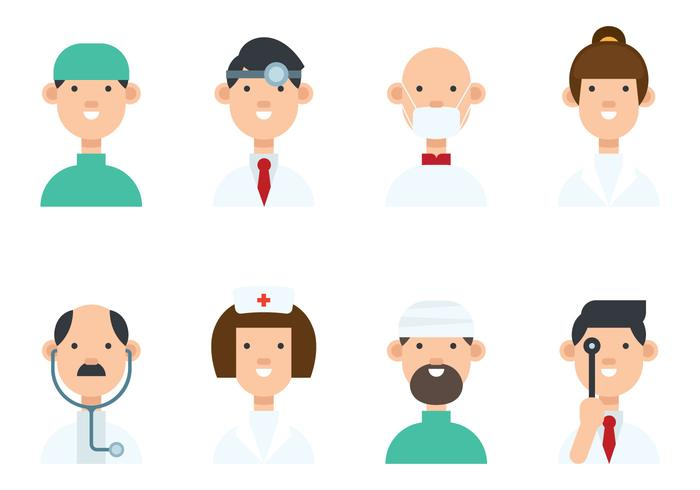 Set verschiedene Doktor Avatar Vektoren