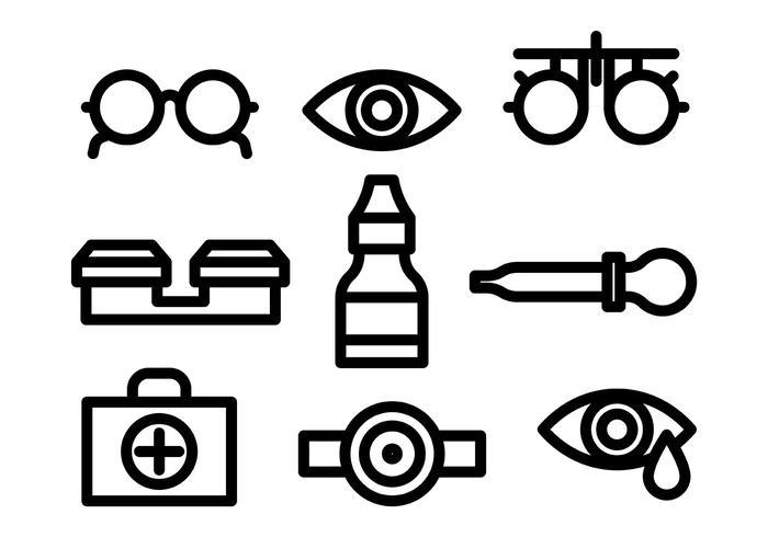 Linjär ögonläkare Ikoner vektor