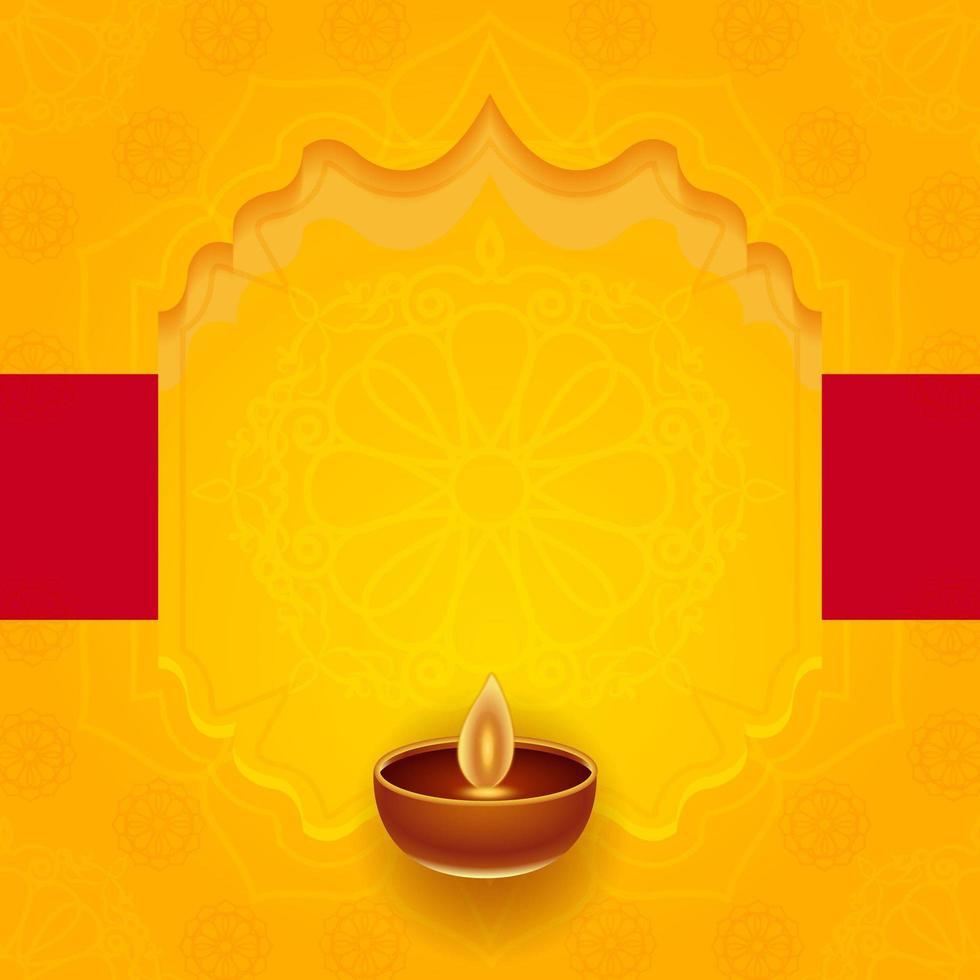 deepavali festival bakgrund i gul dekorativ estetik vektor