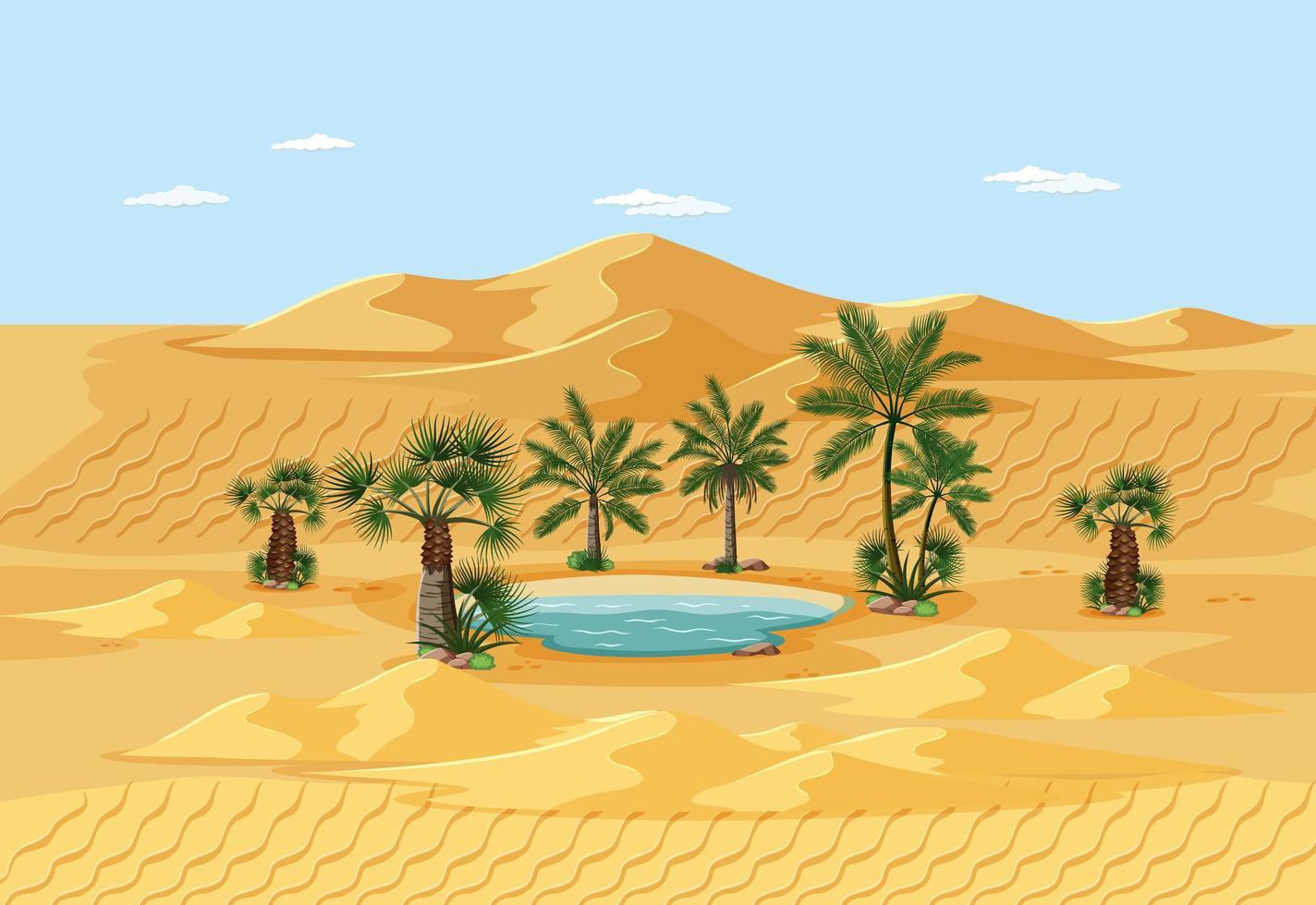 Wüstenlandschaft mit Naturbaumelementen vektor