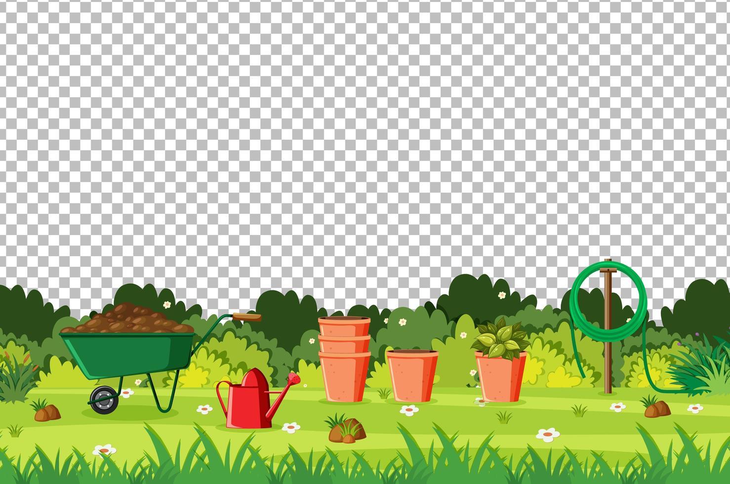 Garten mit Werkzeuglandschaft auf transparentem Hintergrund vektor
