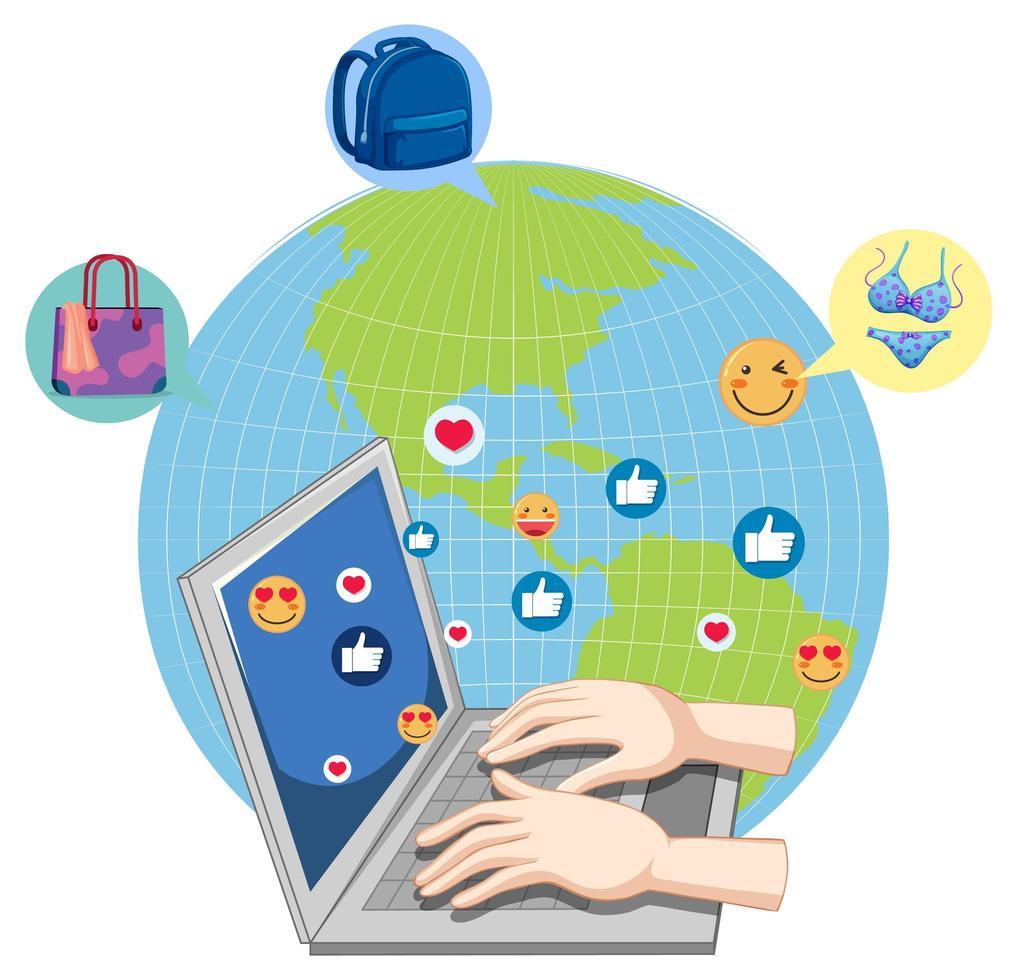 barn med sociala medier på jordklotet vektor