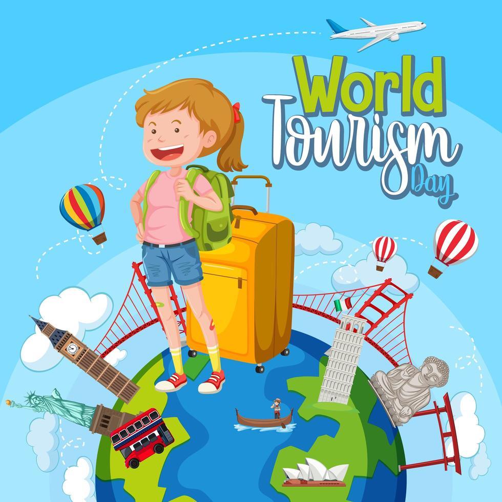 världsturismdag med turist och berömda landmärken vektor