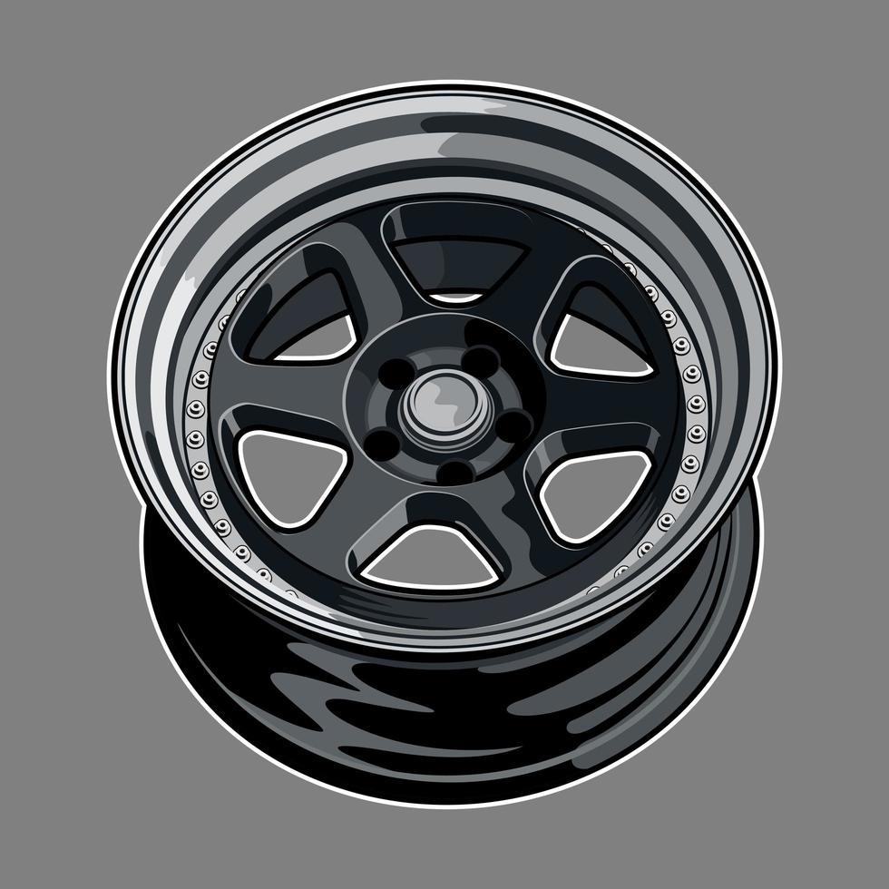 mörkgrå bilhjulsritning vektor