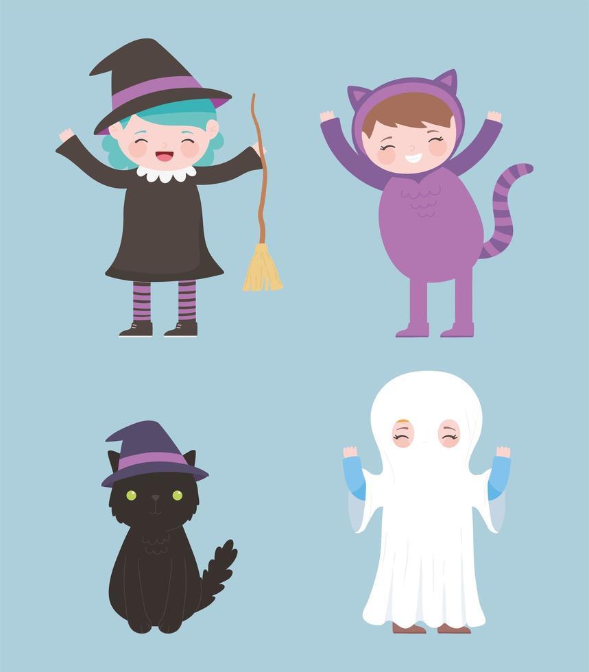 kostym karaktär flickor. häxa, katt och spöke vektor