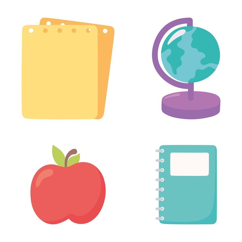 apple, globe karta, anteckningsbok och papper ikoner vektor