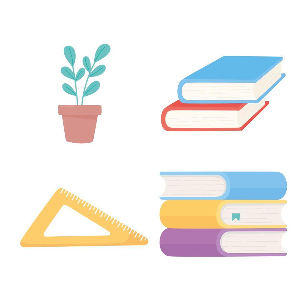 Stapel Bücher, Dreieckslineal und Pflanzenikonen vektor