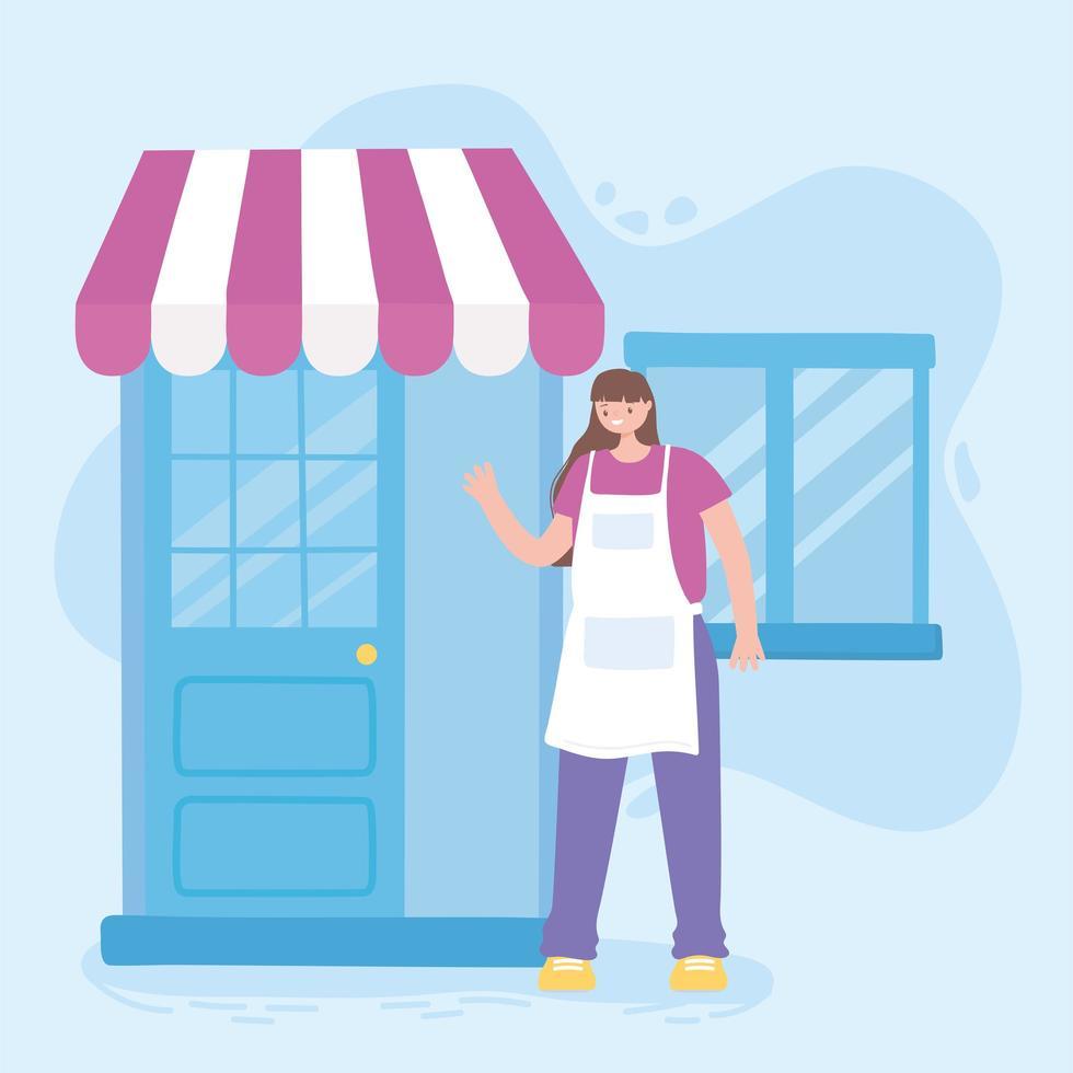 kvinnlig anställd med tecknad butiksdörr vektor