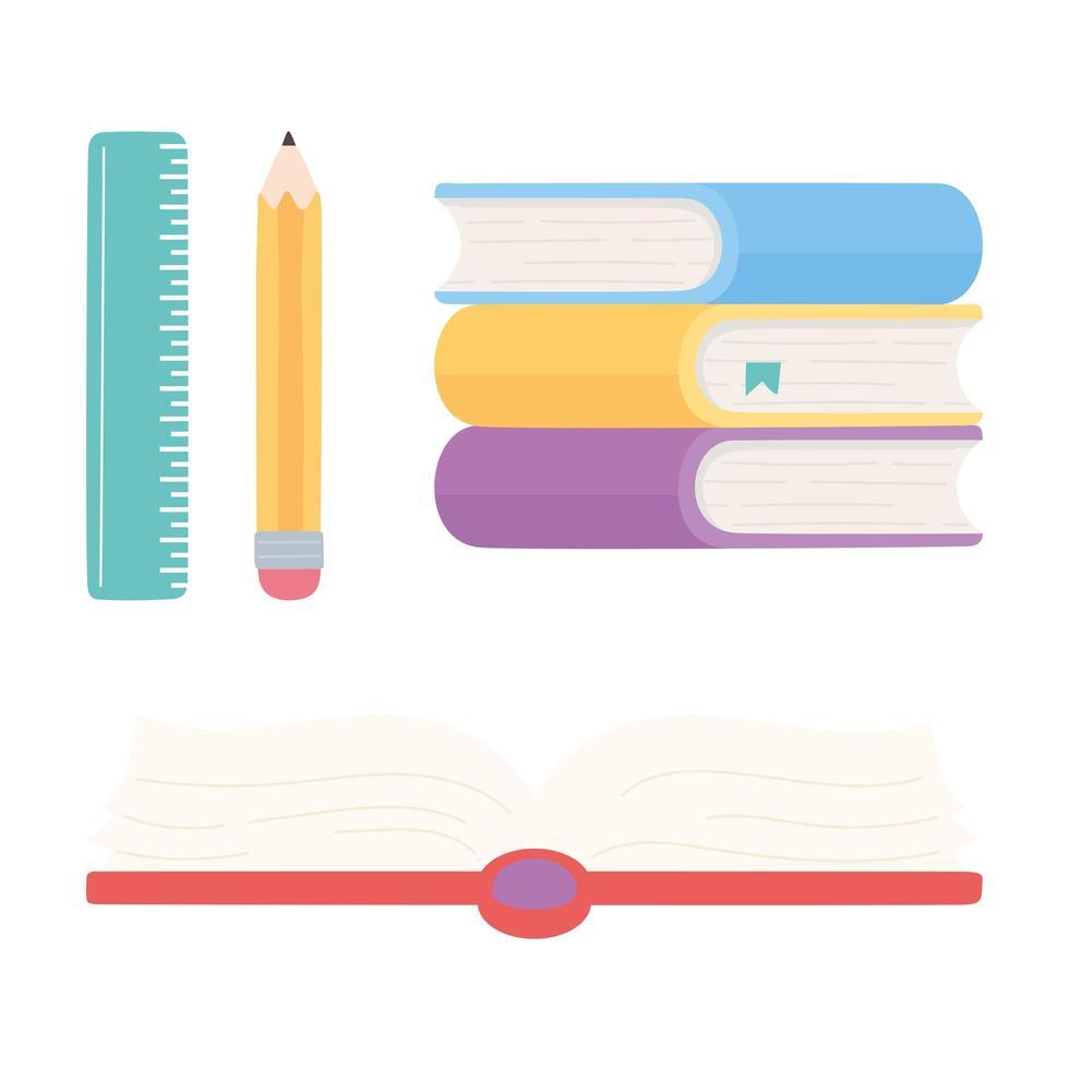 linjal, penna, öppen lärobok och böcker ikoner vektor