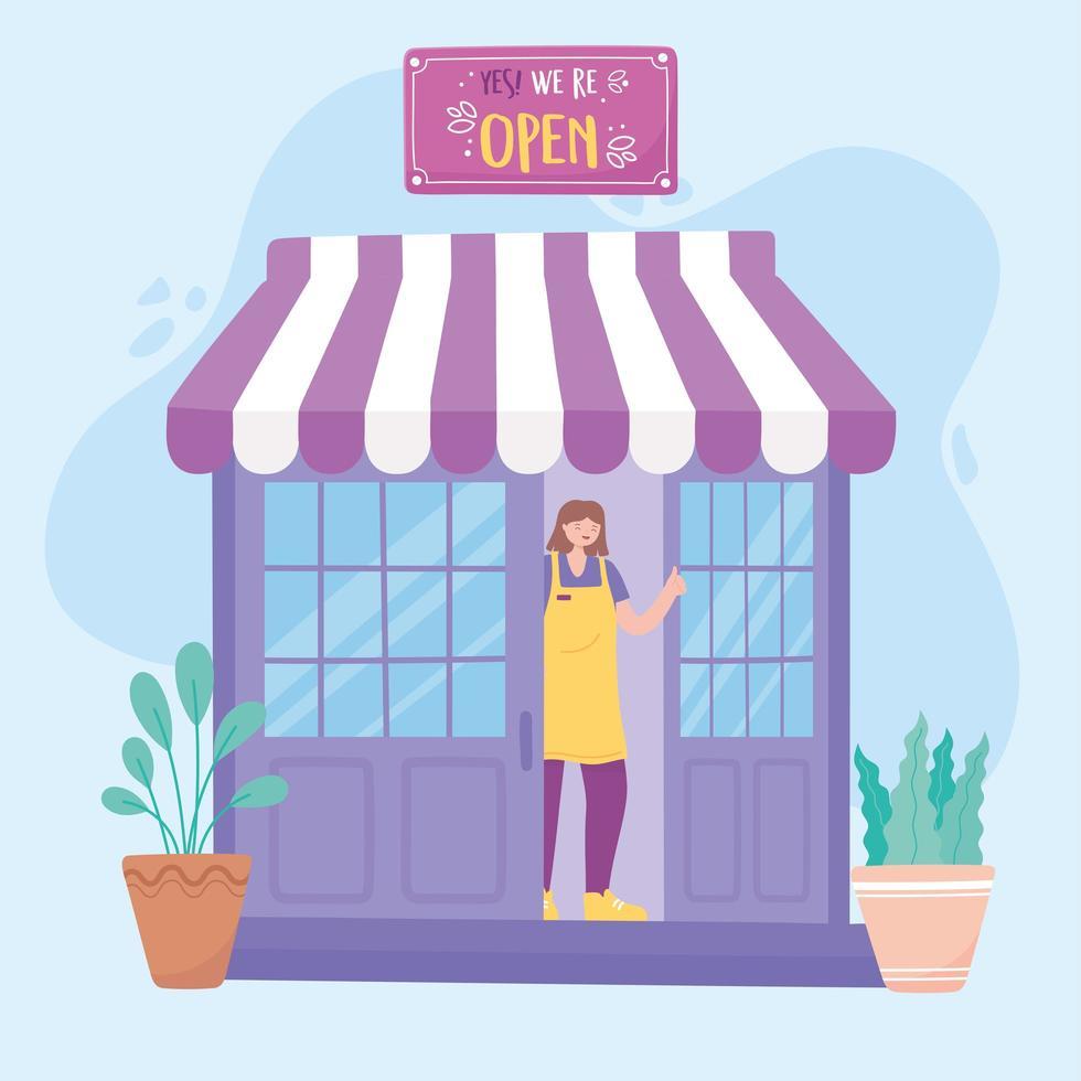 kvinnlig anställd på butikens främre styrelse vektor
