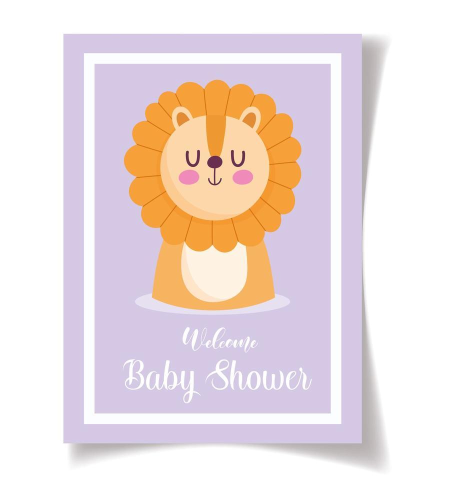 baby mall kort mall med bedårande lilla lejon vektor