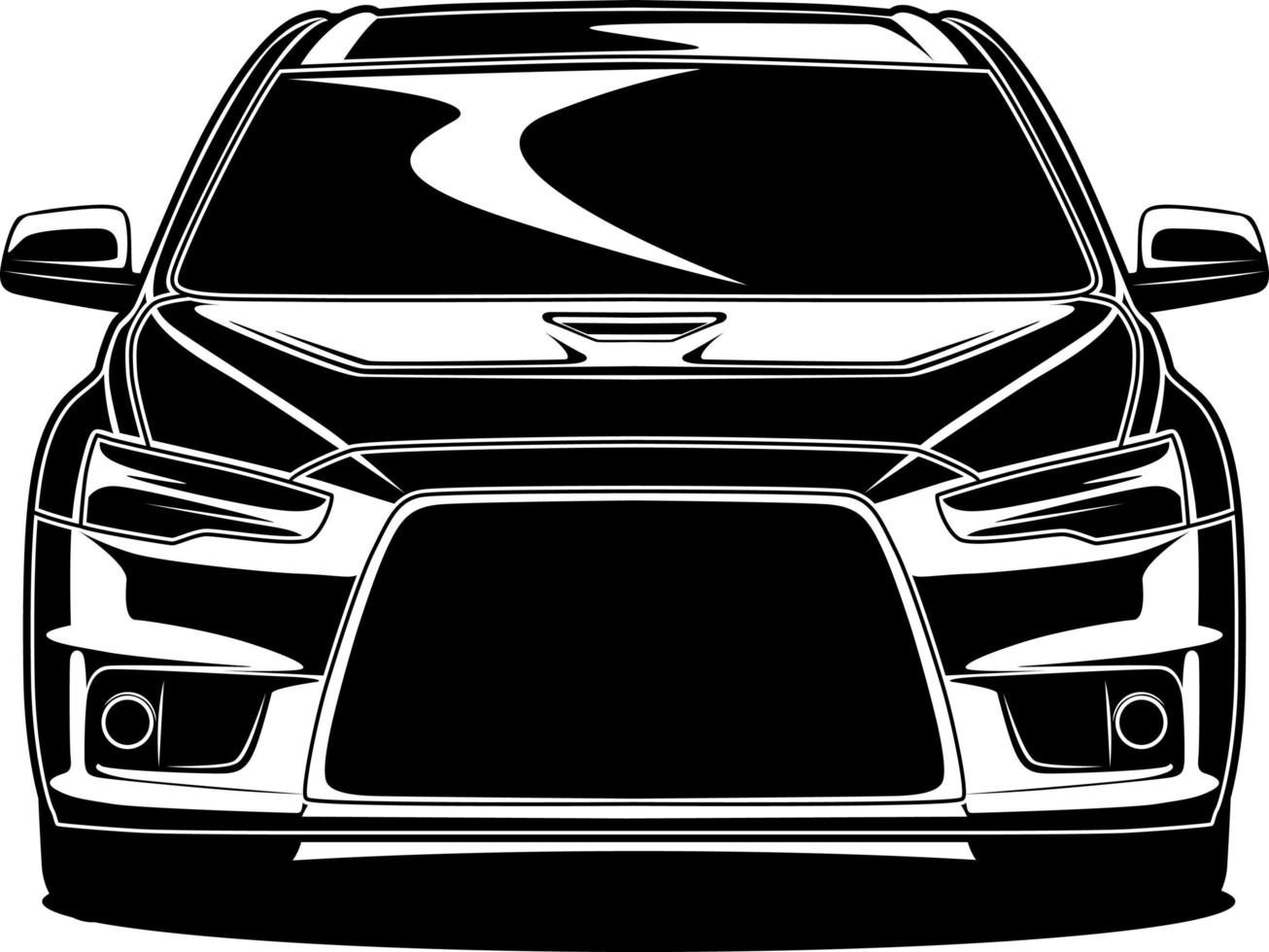 svartvita bil fram ritning vektor