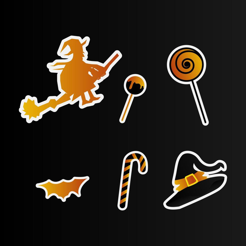 halloween klistermärken pack vektor
