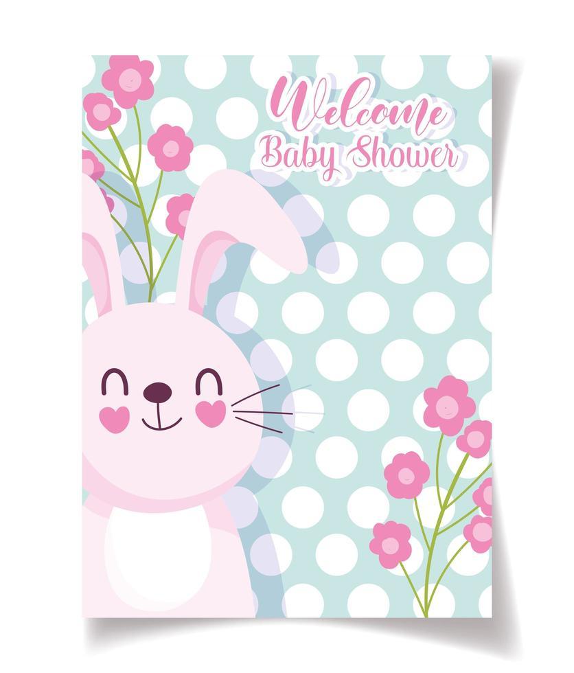 baby shower kortmall med kanin och blommor vektor