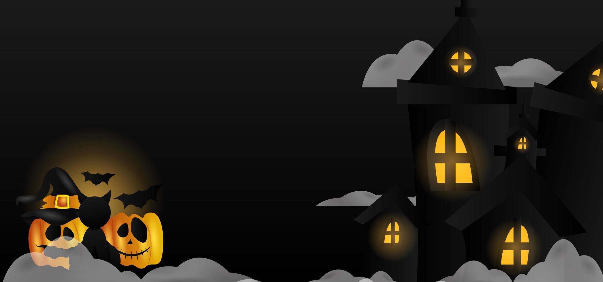 halloween firande banner med slott och pumpor vektor