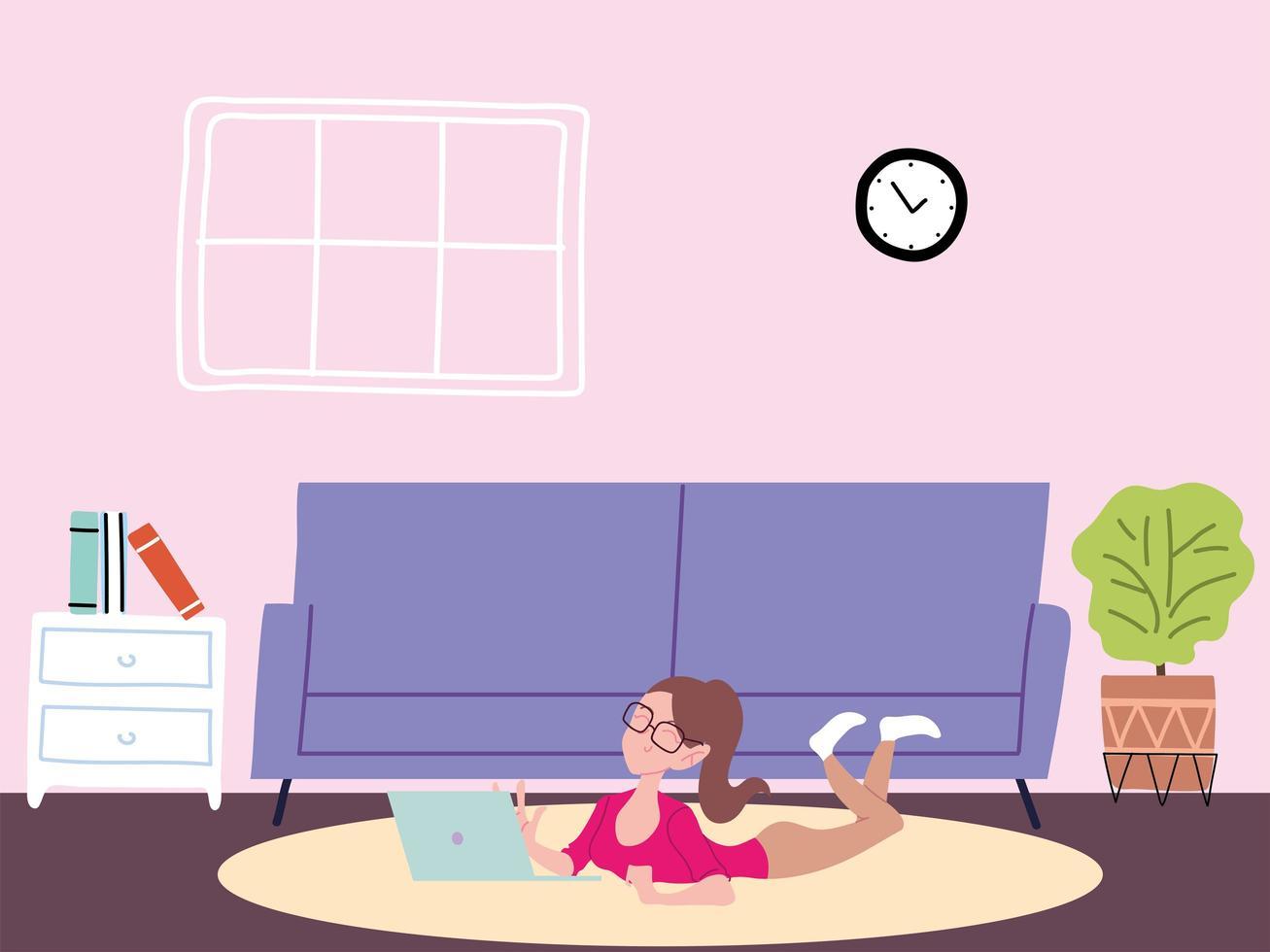 kvinna som arbetar på distans från sitt hem vektor