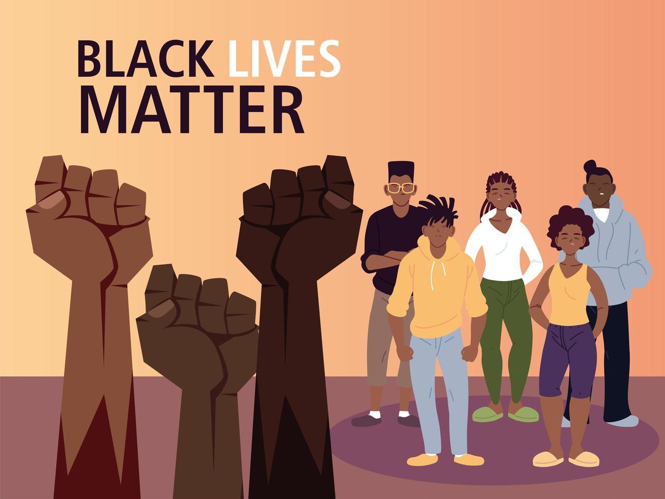 schwarze Leben sind wichtig mit Fäusten vektor