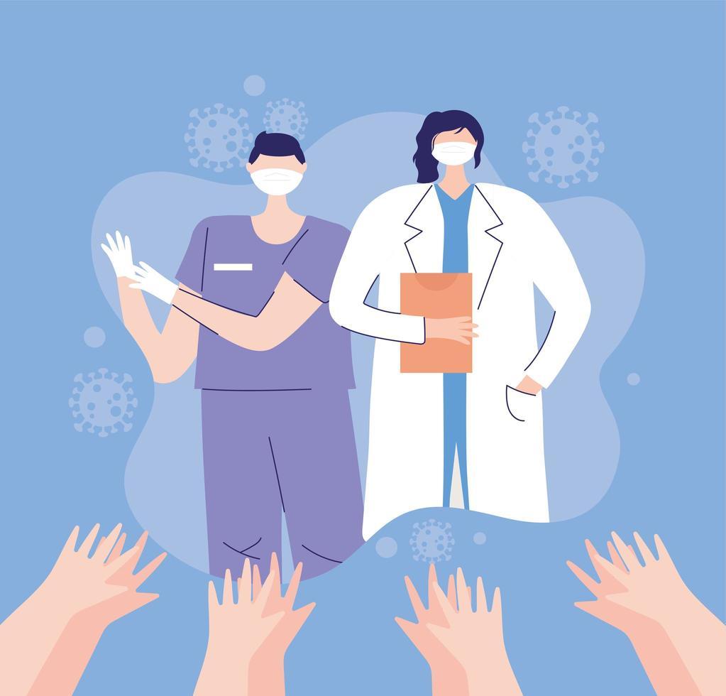 Ärztin und Krankenschwester mit Masken vektor