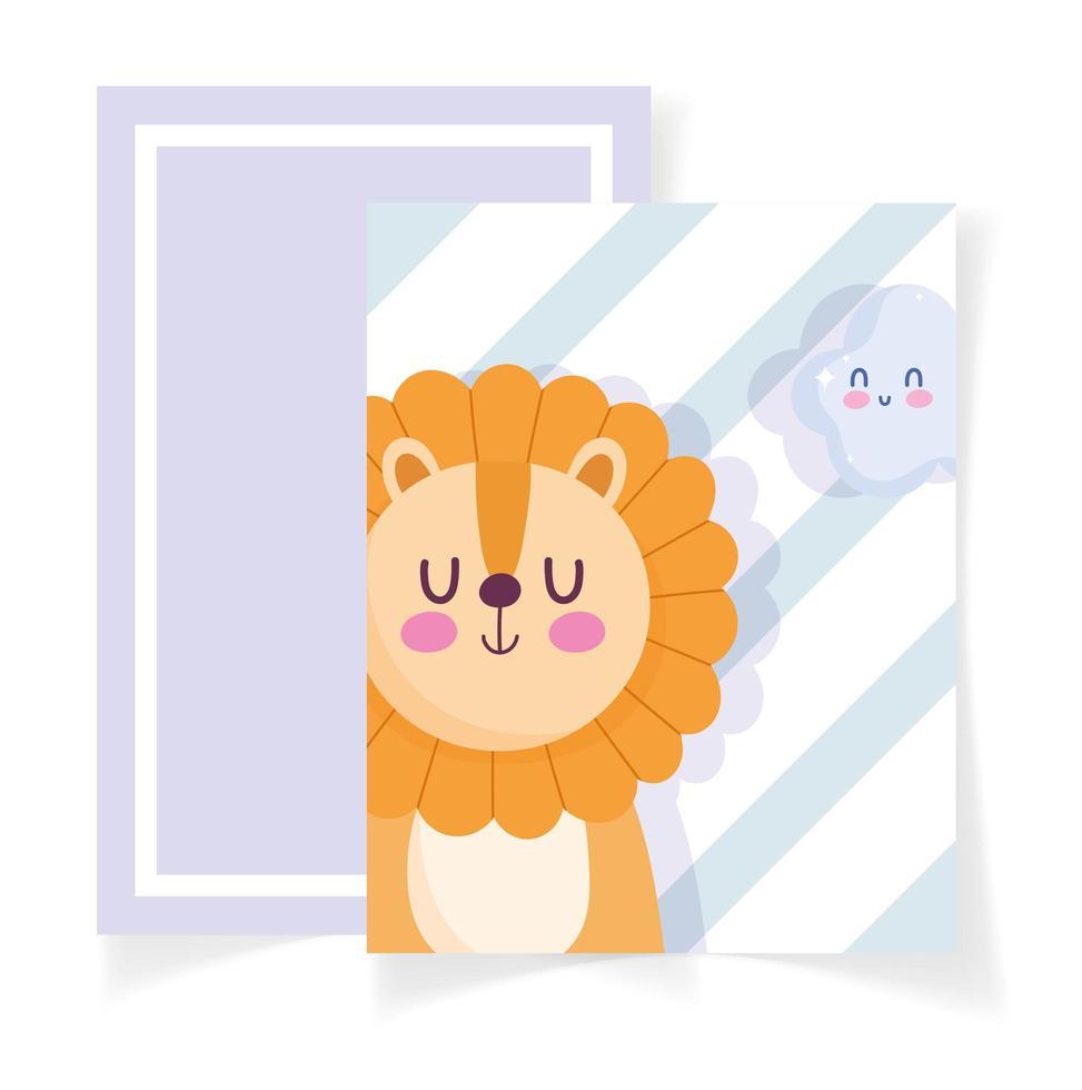 baby shower kort med lite lejon och moln vektor