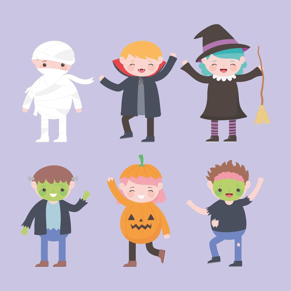 Fröhliches Halloween. Kostümfiguren Gruppe Kinder vektor