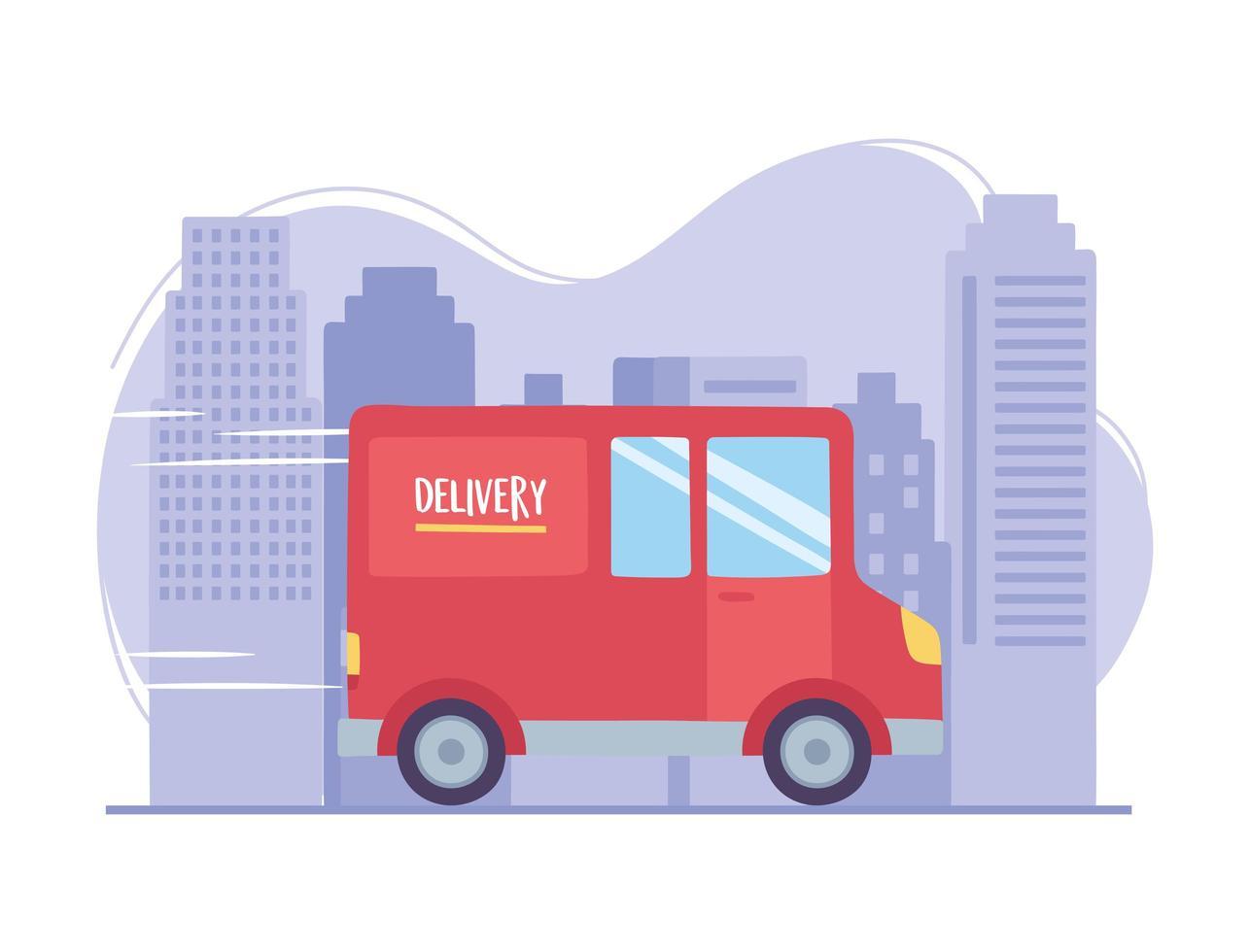 online leveransservice. lastbilstransport på stadsgatan vektor