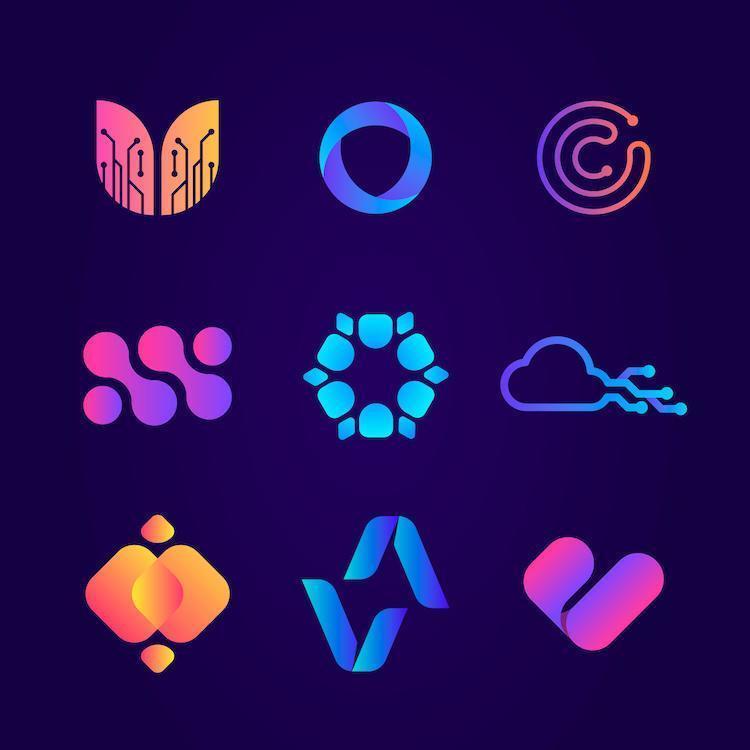 modern gradient teknik logotyp samling vektor