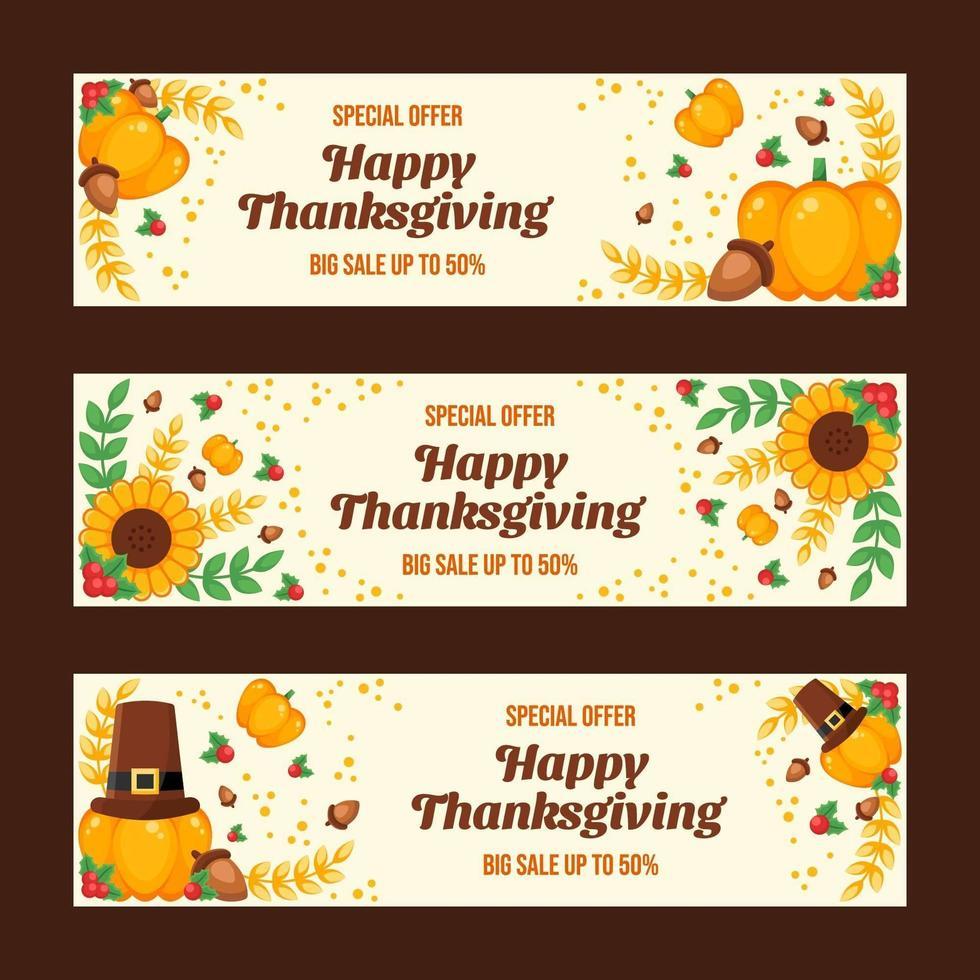 färgglada lyckliga tacksägelsedagsbanners vektor