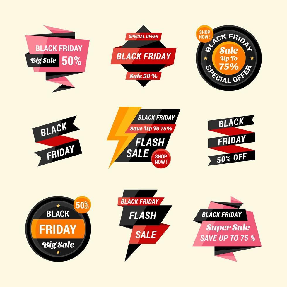 svart fredag etikett klistermärke samling vektor