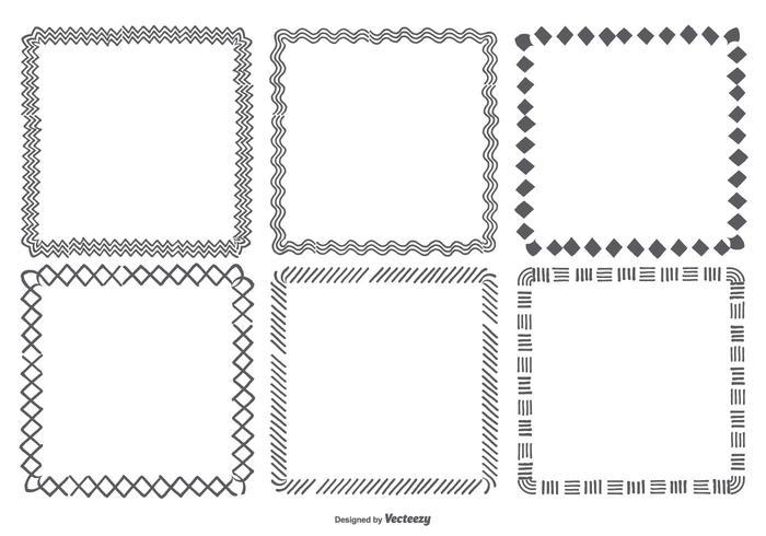 Hand gezeichnet quadratische Felder Sammlung vektor
