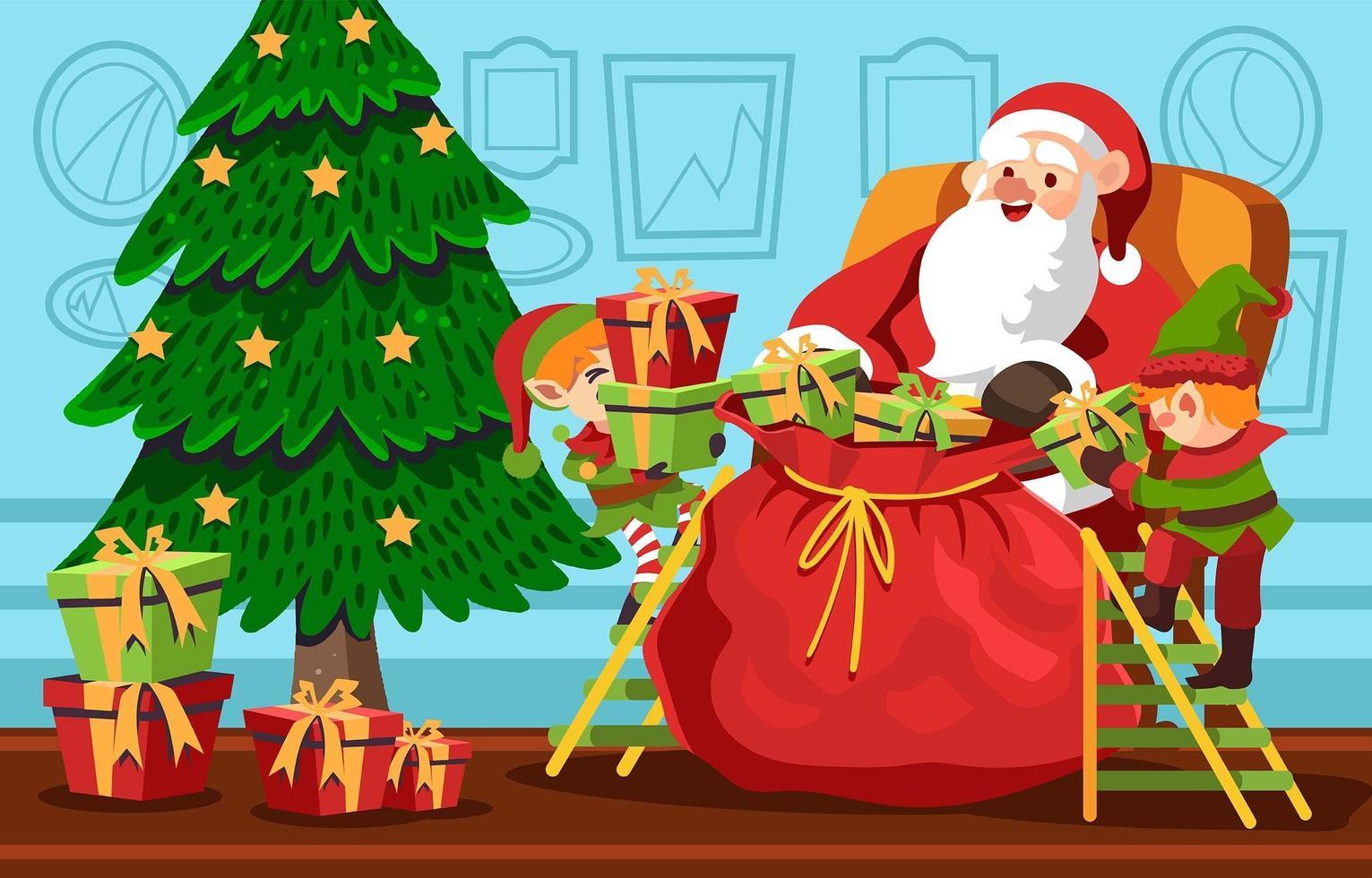 santa förbereder gåva med sin hjälpare vektor