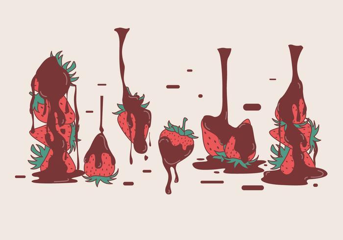 Chokladöverdragna Strawberry vektorer