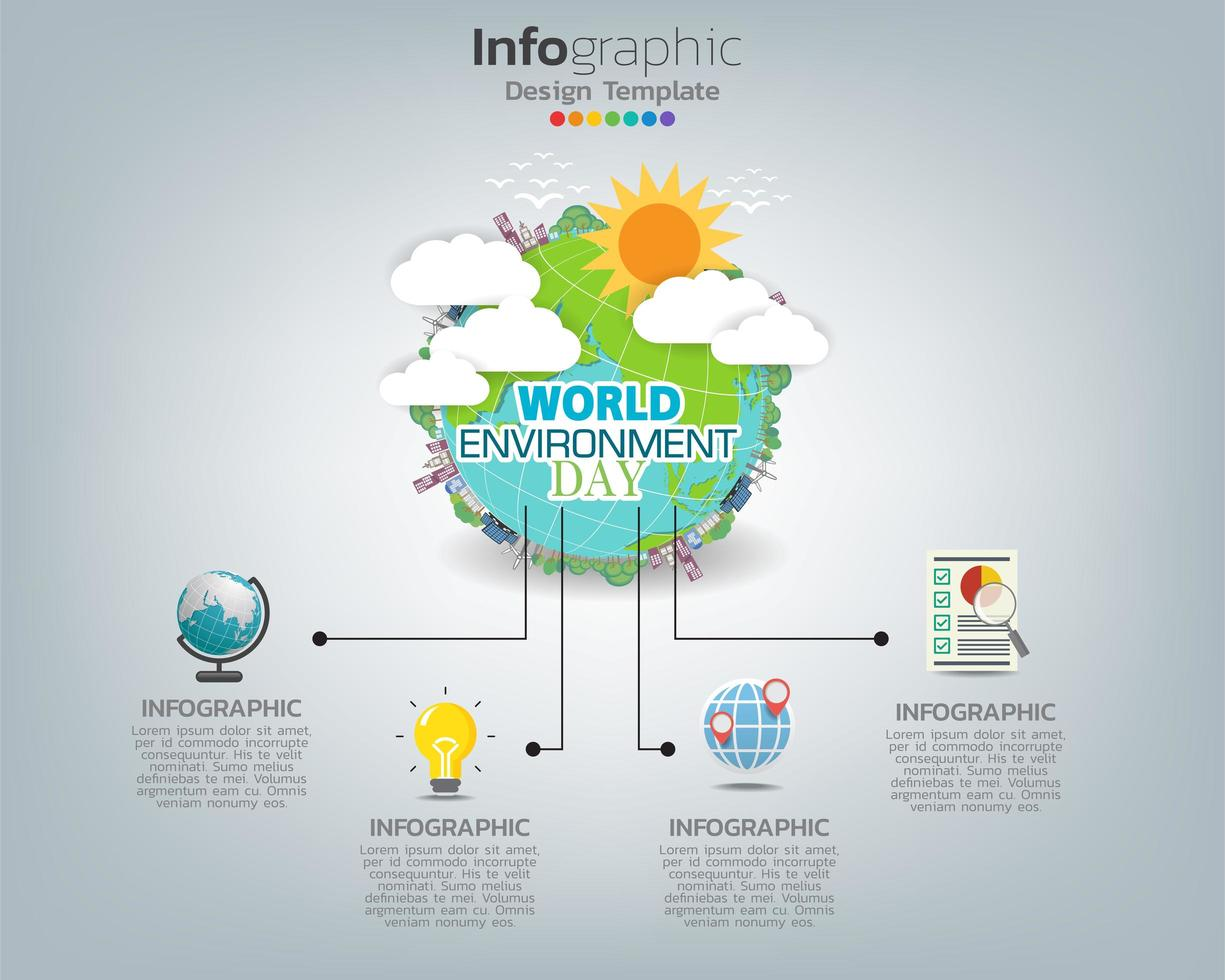 jordklot infographic. världsmiljö dag koncept. vektor