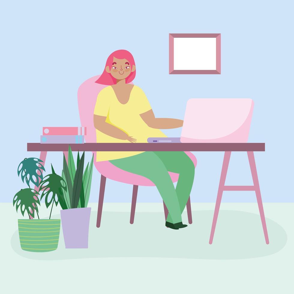 ung kvinna som arbetar fjärrkontroll hemifrån vektor