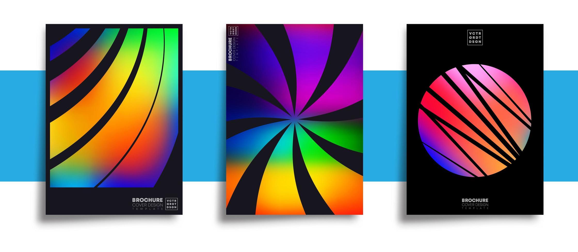 uppsättning abstrakta designaffischer med färgglada lutningar vektor