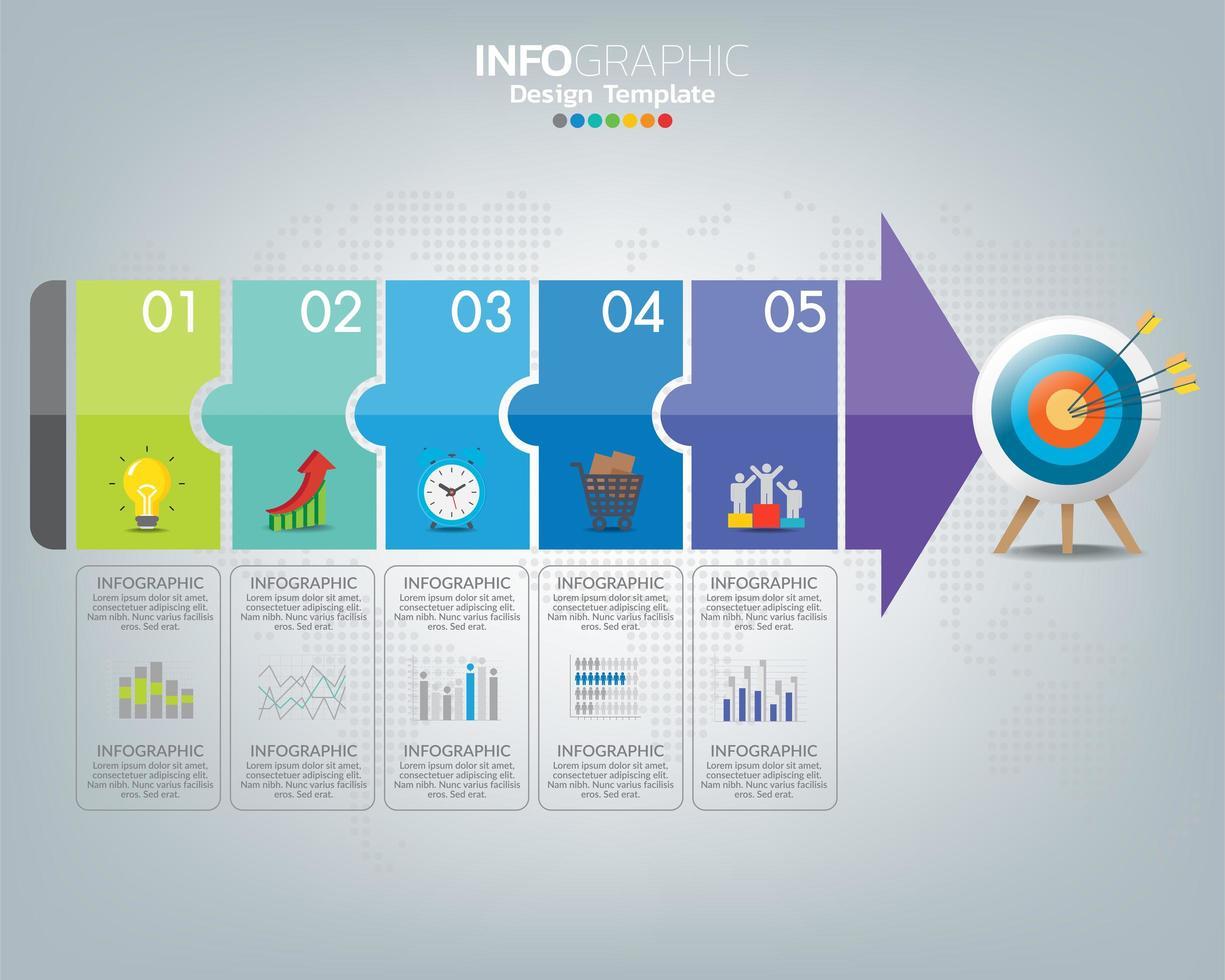 mål med element och text, infografisk mall. vektor