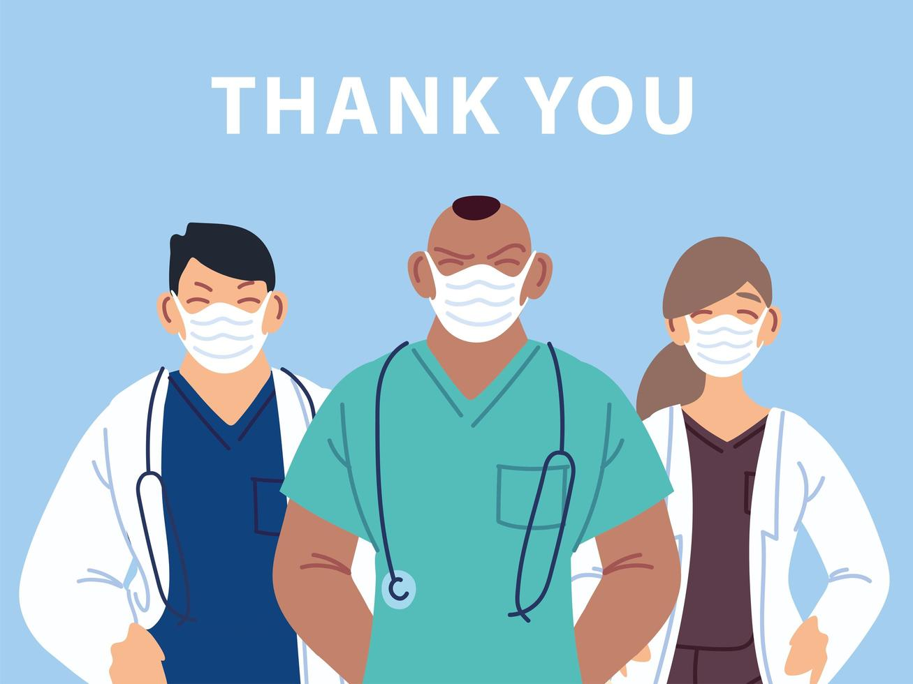 tack läkare och sjuksköterskor affisch vektor
