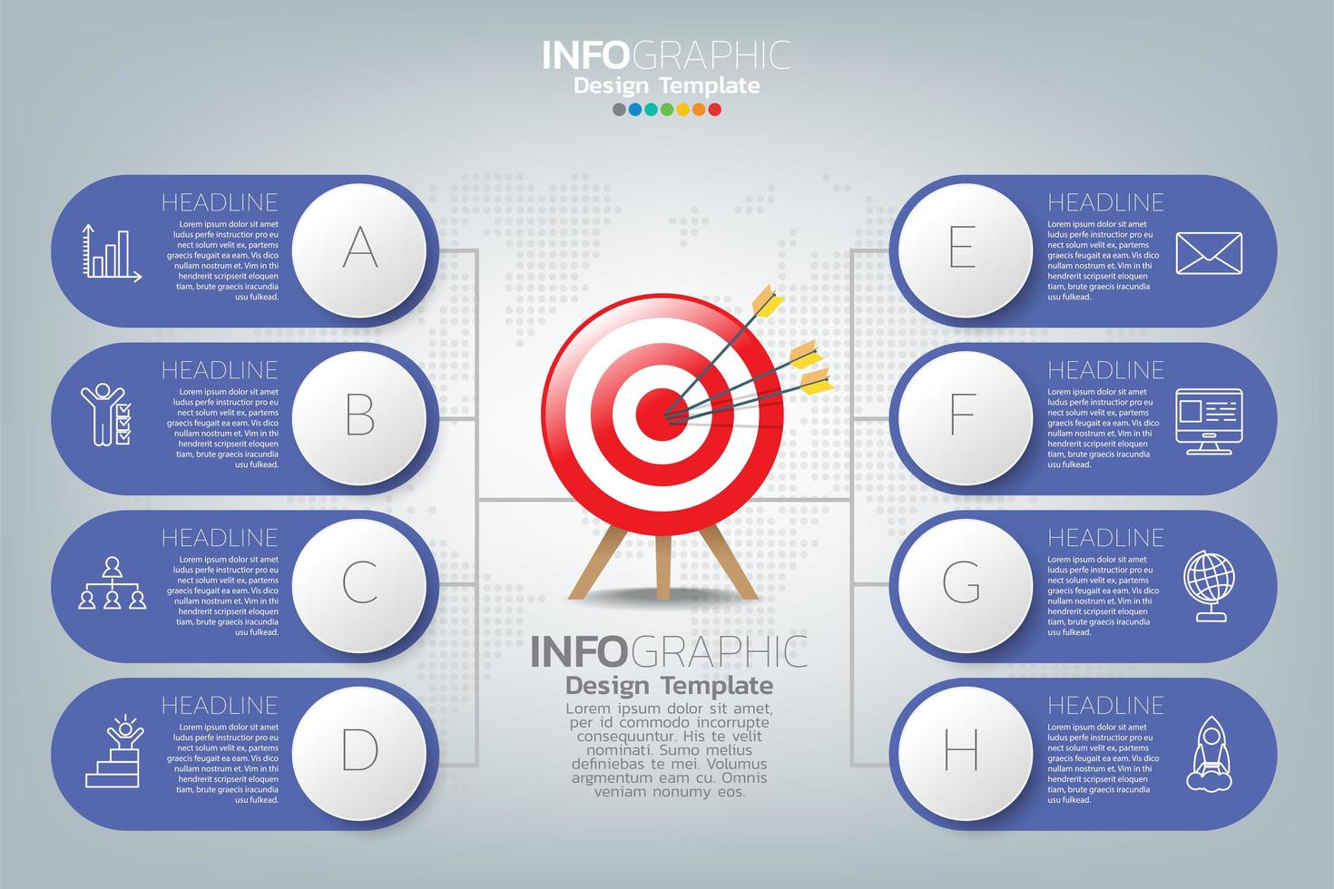 infografisk mall och ikoner. affärsidé med processer. vektor
