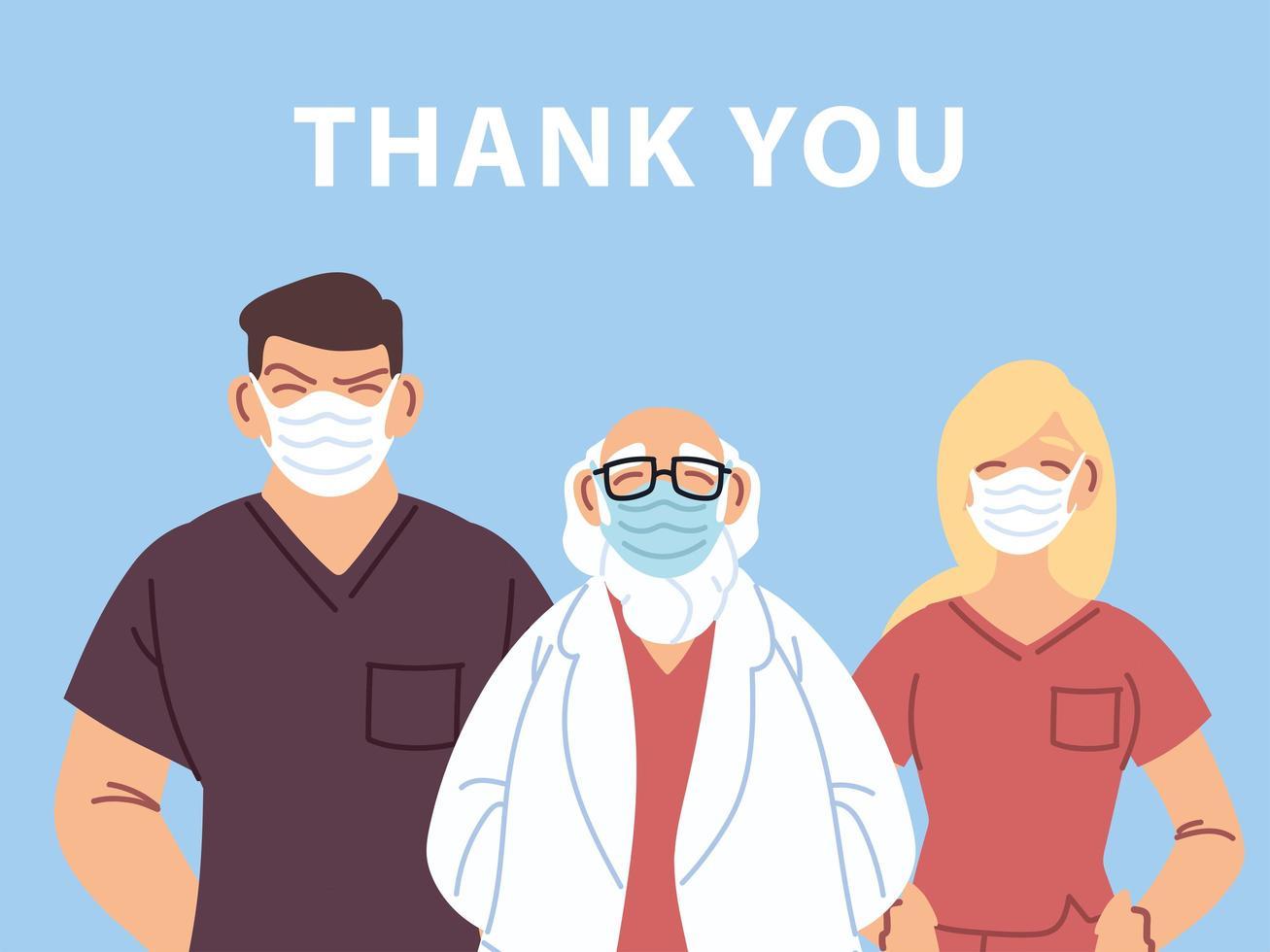 tack läkare och sjuksköterskor design vektor