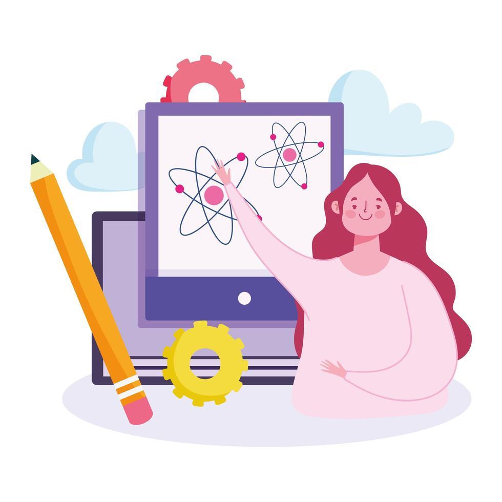 online utbildning koncept med kvinnan undervisning vektor