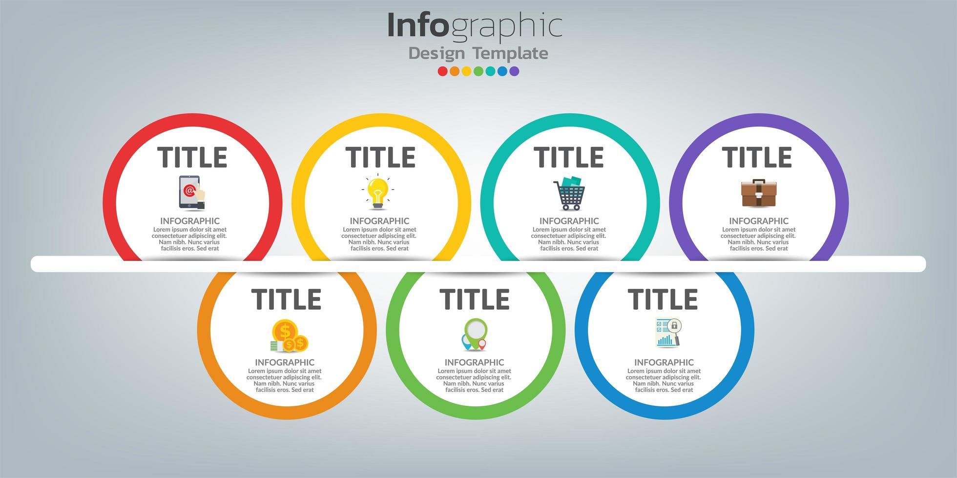 tidslinje infographic designmall med 7 steg. vektor