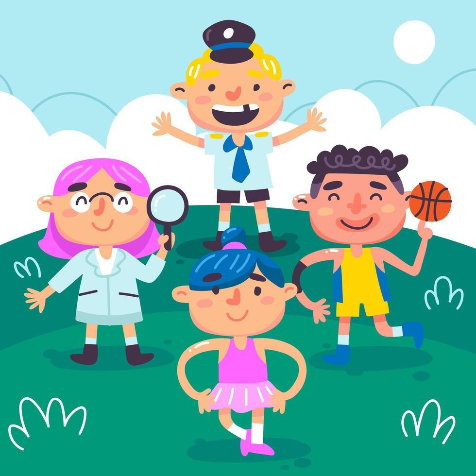 barn som leker tillsammans utomhus vektor