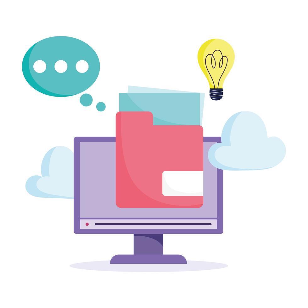 online utbildningskoncept med datorskärm vektor