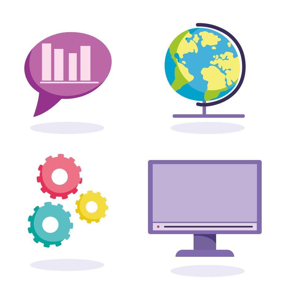 online utbildning koncept Ikonuppsättning vektor